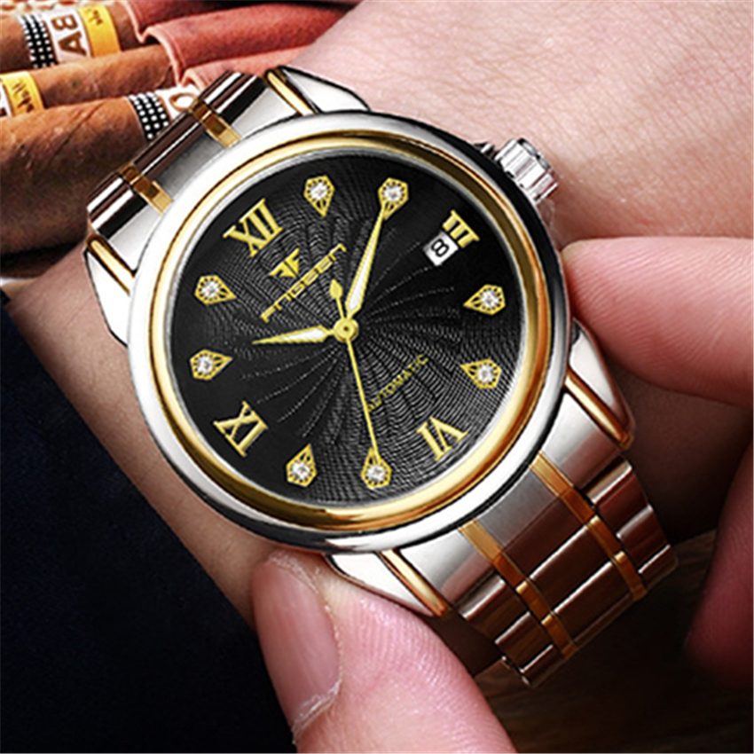 FNGEEN Men Watches Automatic Mechanical WristWatches Fashion Male Stainless Steel Clock Luxury Brand Man Wrist Watch Montres Hom shenhua brand black dial skeleton mechanical watch stainless steel strap male fashion clock automatic self wind wrist watches
