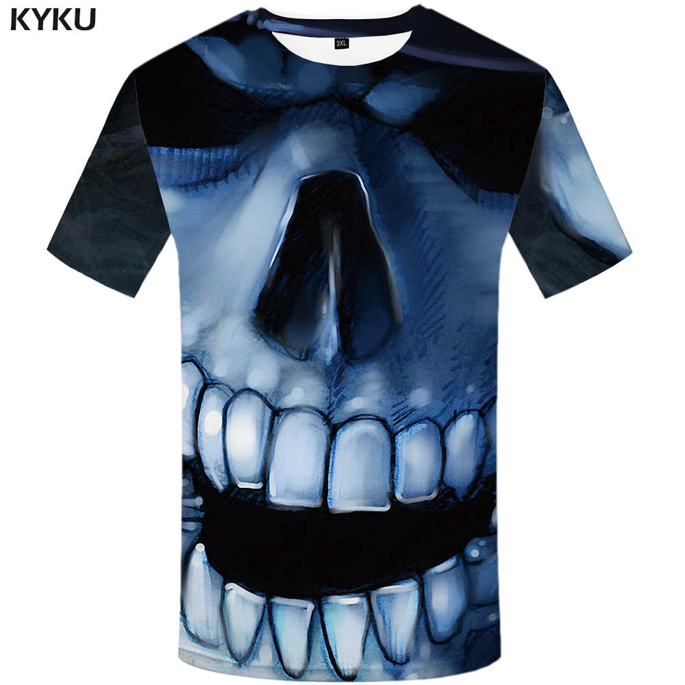 ac814b97a1a KYKU Skull T shirt Women Gothic 3d T-shirt Devil Plus Size Shirts Clothing  Tops