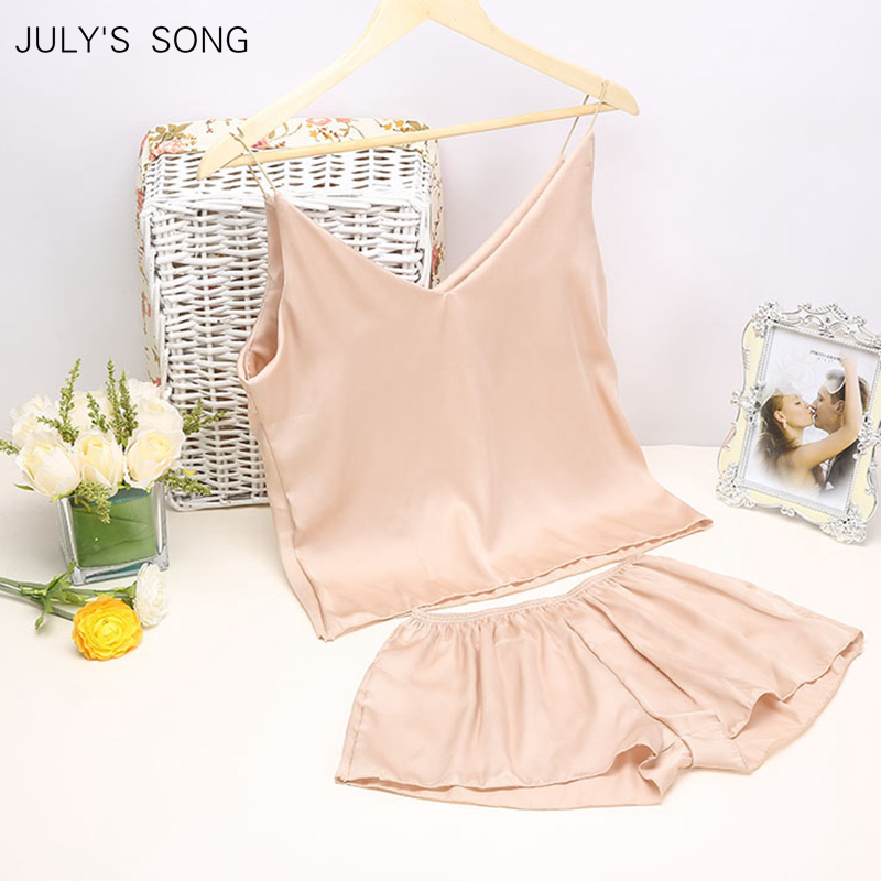JULY'S SONG Satin Sleep Tops  Spring Summer Pajama Sleepwear Women Sleeveless Sling And Shorts Women's  Sleep Tops