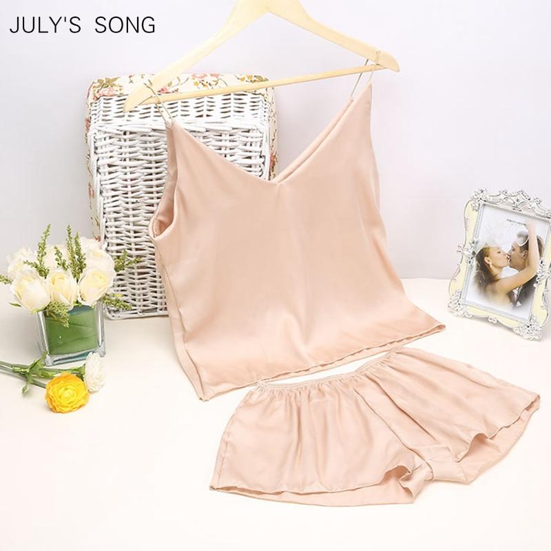 JULY'S SONG Satin Sleep Tops  Spring Summer Pajama Sleepwear Women Sleeveless Sling And Shorts Women's  Sleep Tops