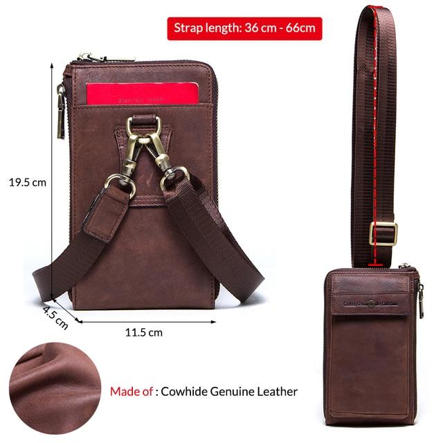 Retro Leather Phone bag case For iphone se 2020 cover Pocket Cases for iphone 8 11 pro Waist Bag Belt wallet zipper shoulder bag 4