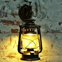 Retro Industrial Wall Lamp Vintage Glass Kerosene Lamps E27 Iron rust Loft Light Plated Indoor Lighting Home bedroom Decoration