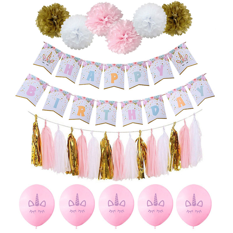 Rose Licorne Fête Papier Bannièrefleurballonsglands Joyeux Anniversaire Fête Décoration Garçon Fille Bébé Douche Fête Fournitures