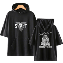 LUCKYFRIDAYF Harajuku SEVENTEEN Kpop fashion Pop Print Short Sleeve Hoodies Sweatshirts Women/Men Hip Hop Hoodies Clothes 4XL цена