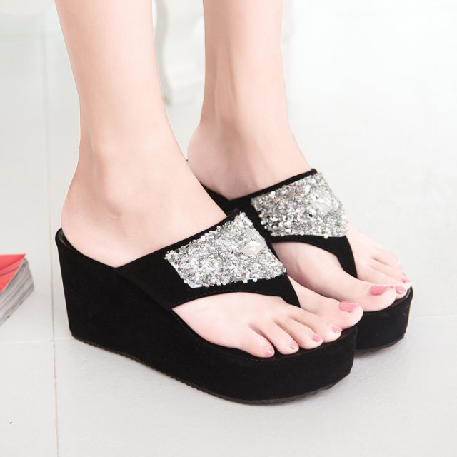 2019 Summer Women 39 s Shoes Platform Non slip Casual Slippers Wedges 8 5cm Solid Color Rhinestone Flip Flops Open Toe EUR35 39 in Flip Flops from Shoes