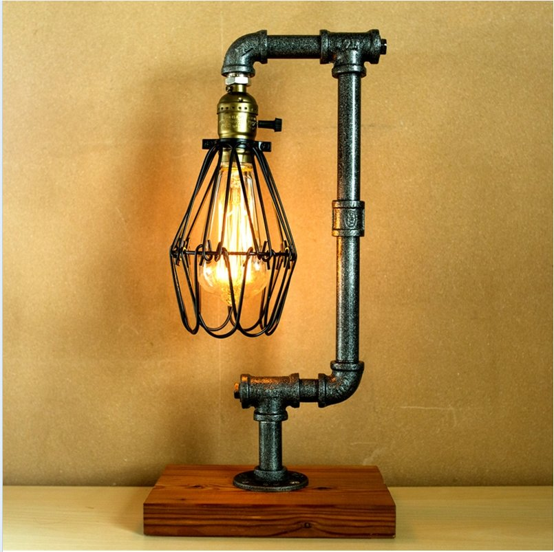 Vintage industrial retro style steel pipe desk table lamp for Taliesin 1 table lamp