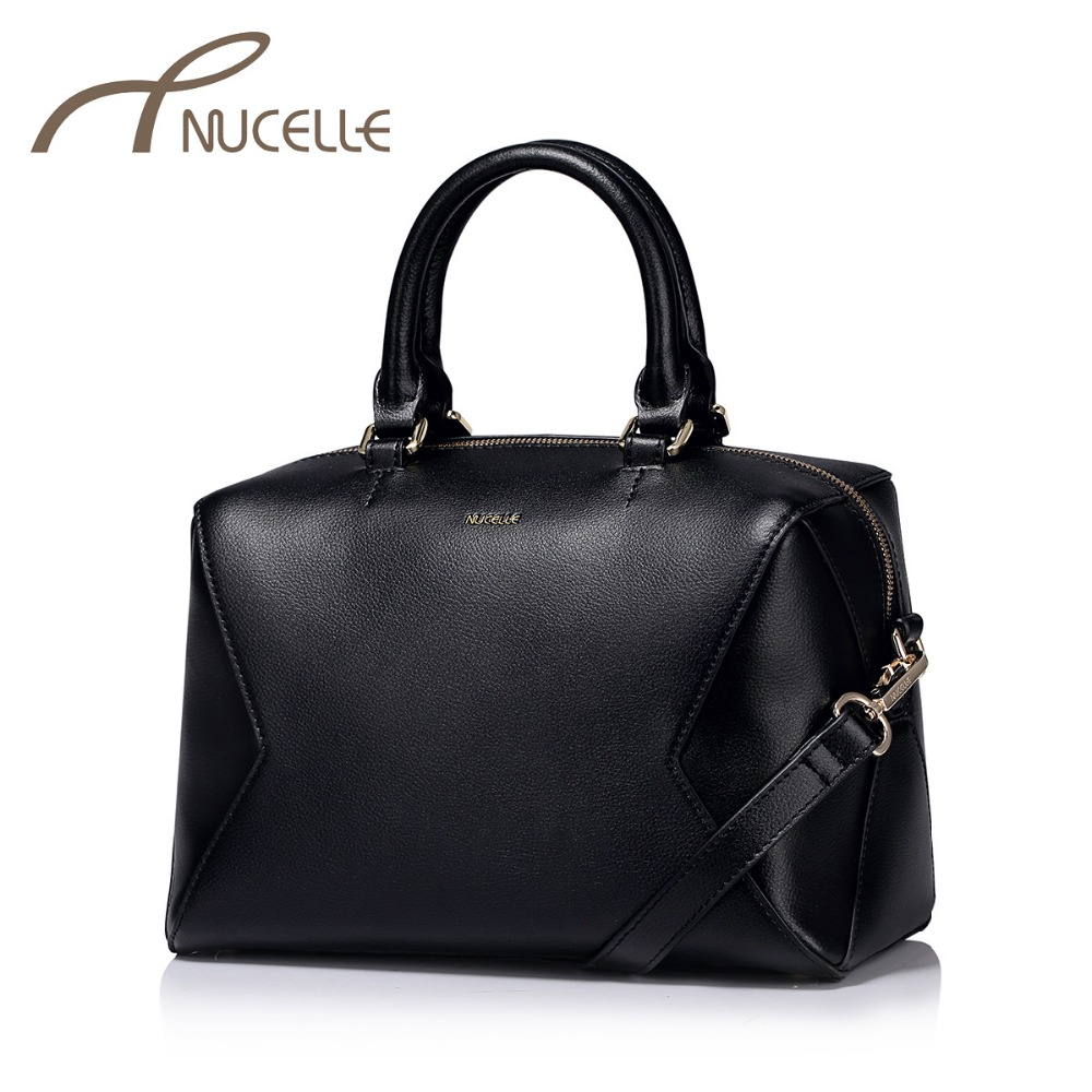ФОТО NUCELLE Women Split Leather Handbags Ladies Fashion Boston Leather Tote Bags Female Patchwork Shoulder Crossbody Bags NZ5885