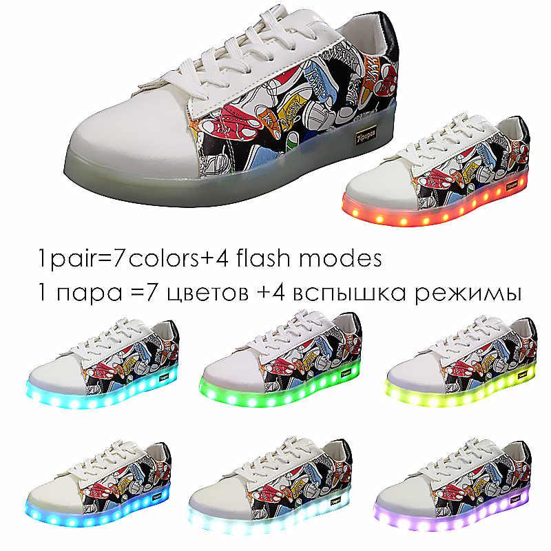 7 ipupasร้อนขายg raffitiส่องสว่างรองเท้าสบายๆที่มีสีสันu nisexเด็กเด็กสาวซูเปอร์สตาlightedรองเท้าผ้าใบusbเรืองledรองเท้าผ้าใบ