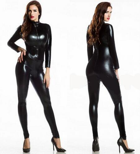 New 2017 Womens Long Sleeve Zentai Jumpsuit Bodysuit Lycra Spandex Full Body Zentai Suit Sexy Black Shiny Latex Zentai Catsuit