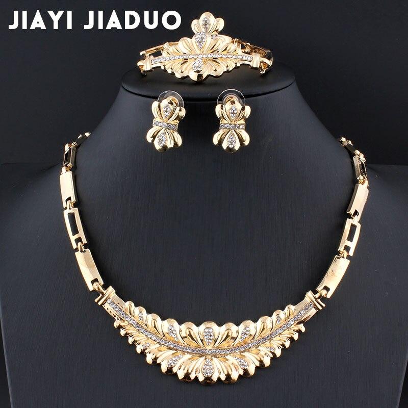 Pflichtbewusst Jiayijiaduo Schmuck Sets Für Frauen Partei Anhänger Erklärung Afrikanische Perlen Kristall Halskette Ohrringe Armband Ringe Halskette Set Schmuck & Zubehör Hochzeits- & Verlobungs-schmuck