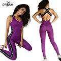 Женщины Комбинезон Slim Fit Stretch Sexy Фиолетовый Комбинезон Спинки Письмо Сращивания Габаритные Комбинезоны RS143