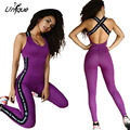 Women Jumpsuit Slim Fit  Stretch Sexy Purple Rompers Backless Letter Splice Overall Playsuits RS143