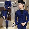 (Jaqueta + Calça + Colete) Homens Ternos Slim Fit Plus Size M-XXL dos homens Ternos de Casamento com Calças Dos Homens de Negócios Formal Wear Frete grátis
