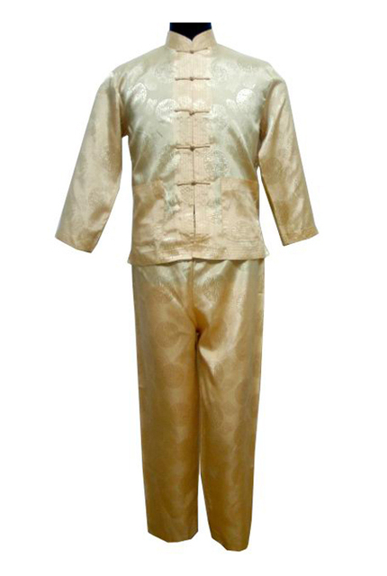 Free shipping ! Gold Men's Polyester Satin Pajama Sets jacket Trousers Sleepwear Nightwear SIZE S M L XL XXL XXXL M3023