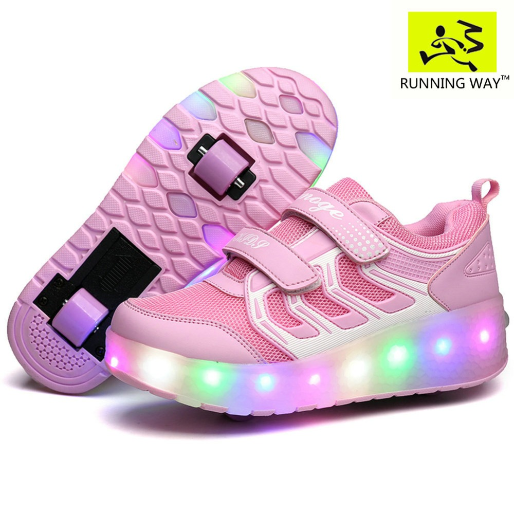 Buy roller shoes online australia - Boys Girls Light Up Roller Shoes With 2 Wheels Skate Sneakers For Kids Youth With Free