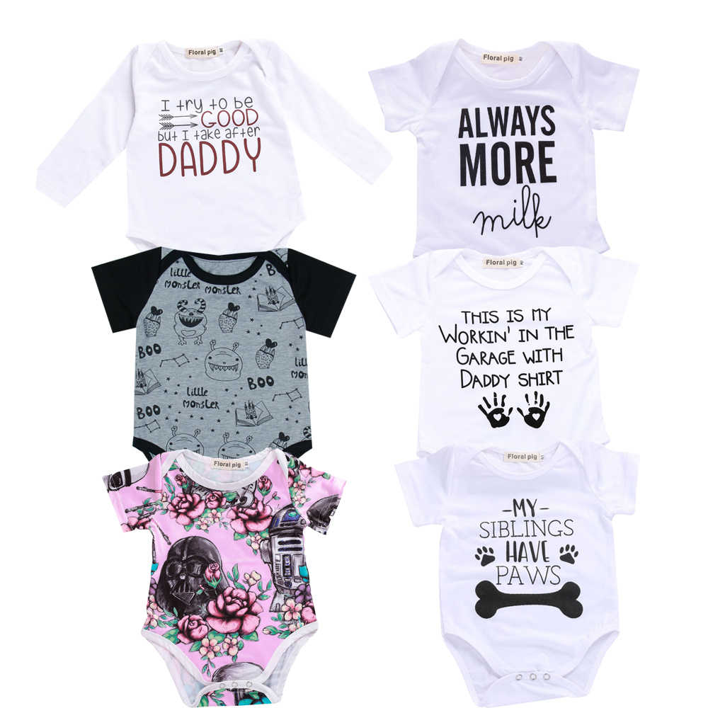 8b539aa0542b 2018 Baby Boy Girl Clothes Party Siblings Daddy Auntie Letter Baby Bodysuit Short  Sleeve Jumpsuit Baby