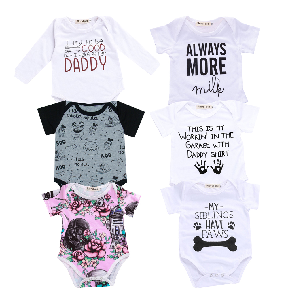2018 Baby Boy Girl Clothes Party Siblings Daddy Auntie Letter Baby Bodysuit Short Sleeve Jumpsuit Baby Onesie 0-18 Tiny Cottons