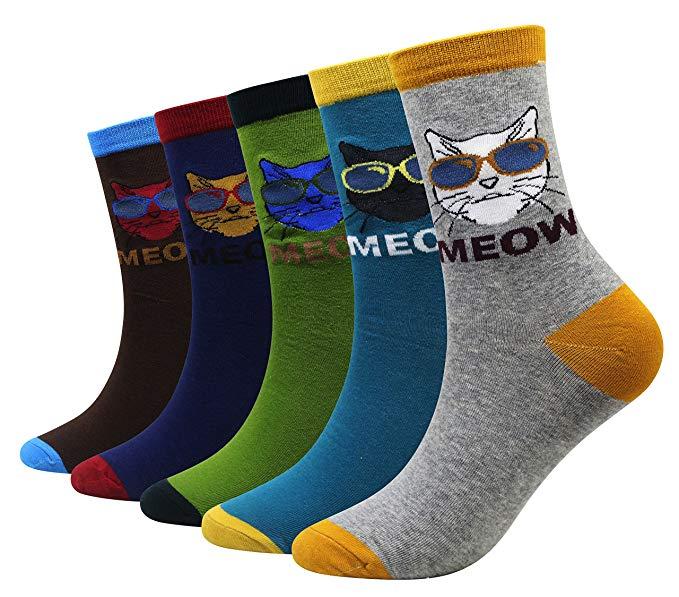 Epous 1 Pair Cartoon Men Cotton Socks Funny Cat Socks Fashion Brand Design Comfortable Breathable Socks Novelty Socks