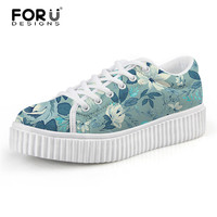 FORUDESIGNS Casual Breathable Platform Shoes for Women Floral Printed Low Style Height Increasing Flats Girls Comfor Sneakers
