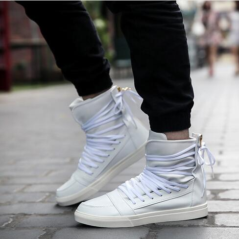 9994c54a09d95 Dropwow New Men Casual Shoes Top Quality Pu Leather Men High Top ...