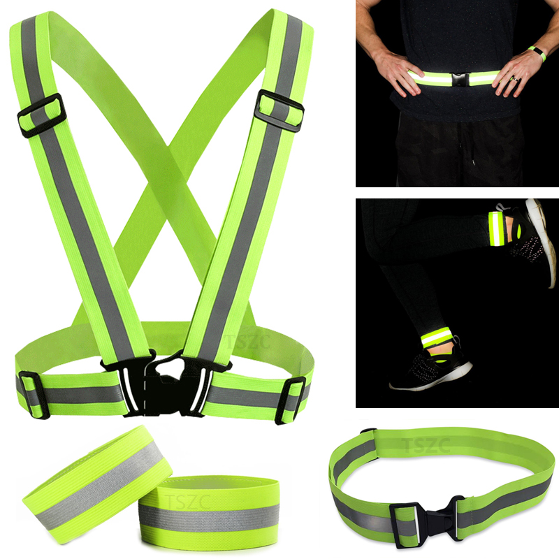 Unisex Outdoor Cycling Safety Vest Bike Ribbon Bicycle Light Reflecing Elastic Harness For Night Riding Running Jogging Bicycle Light Cycling