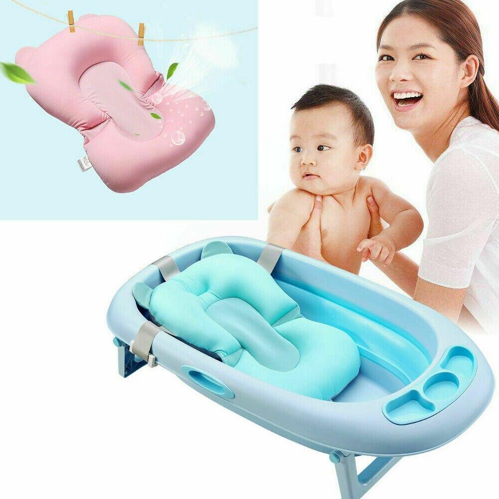 Детский душ, переносная воздушная подушка, детская кровать, детский коврик для ванной, нескользящий коврик для ванной, безопасность для новорожденных, сиденье для купания - Цвет: Небесно-голубой