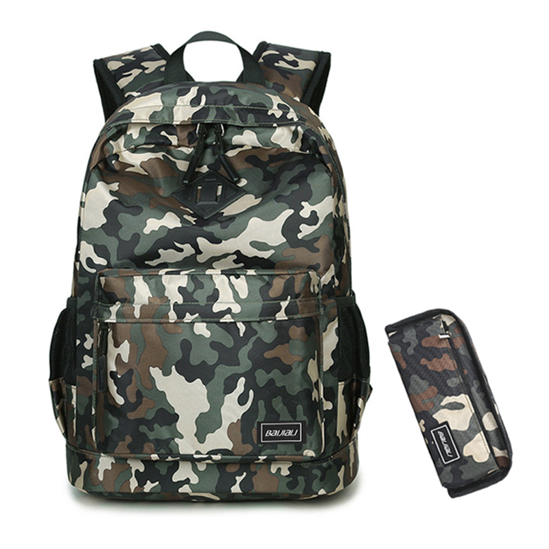 2 Pcs/set Kids Schoolbags Camouflage Backpack For Teens Travel School Bags With Pencil Case Backpacks Men Laptop Bag Mochila