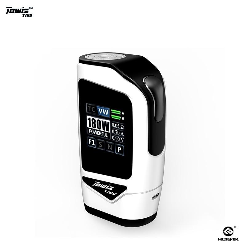 2 pcs/lot Original hcigare Towis T180 e-cigarette écran tactile boîte Mod avec XT180 chipset vape mod Mods de cigarettes électroniques
