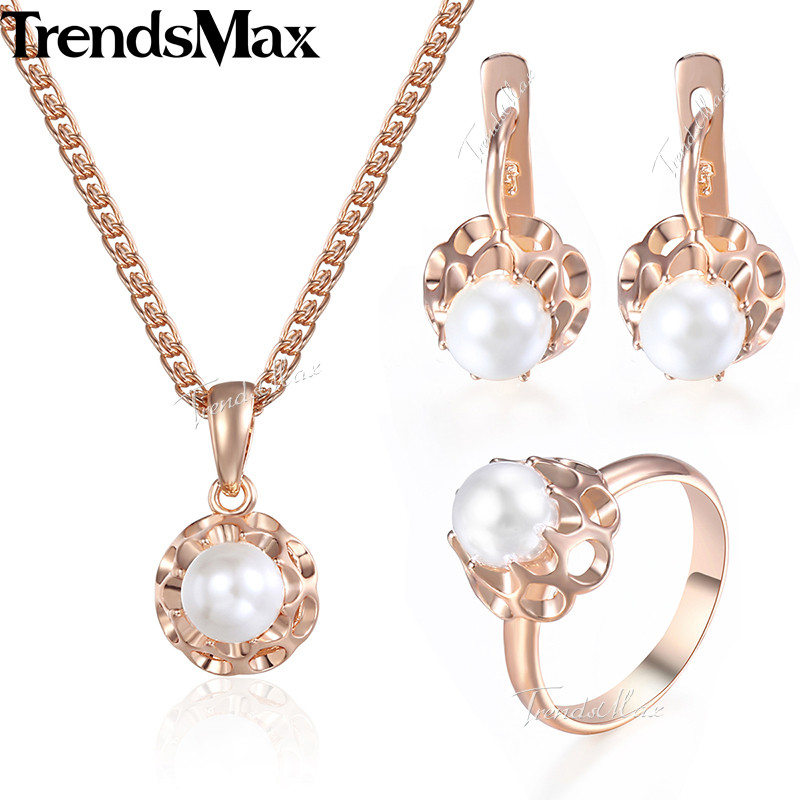 Jewelry Set For Women Girls 585 Rose Gold Pearl Earrings Ring Pendant Necklace Set Fashion Woman Jewelry Wholesale Gifts KGE142 цена 2017