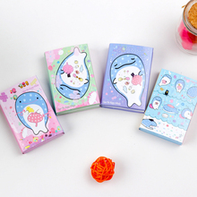 1pcs/lot Korean Whales Series Fold Memo Pad Cute Notepad Sticky Note Pad Writing Scratch Pad For School And Office Supply цена