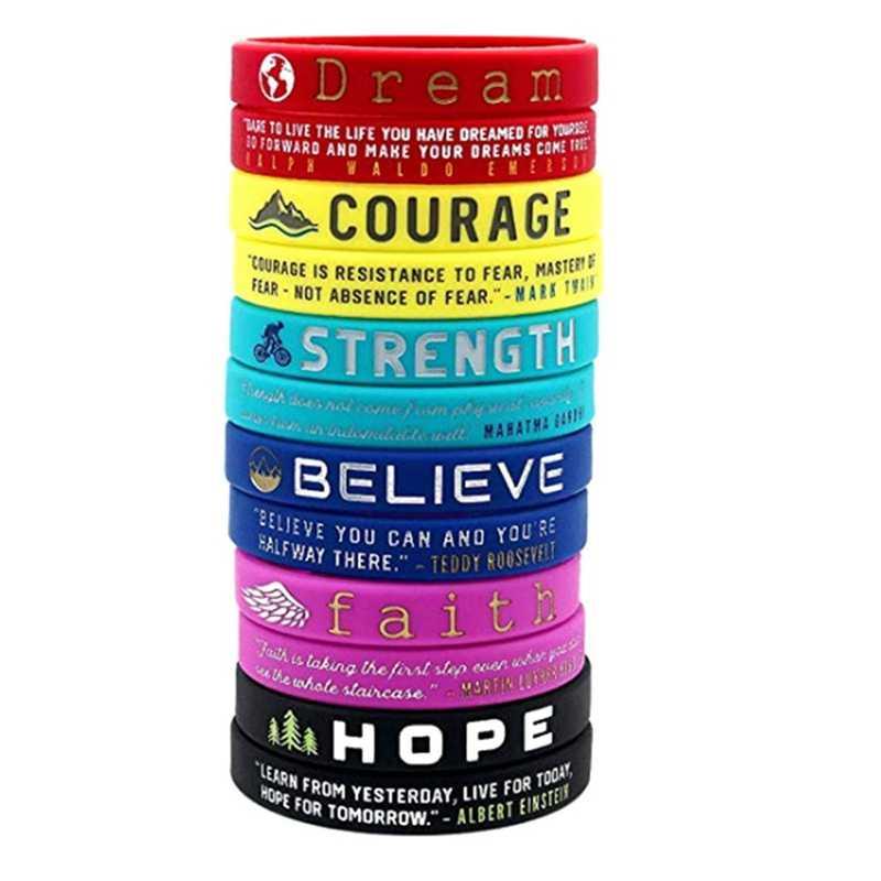 Inspirasi Warna-warni Gelang dengan Kata-kata Positif Mimpi Keberanian Percaya Berharap Iman Kekuatan Motivasi Silikon Gelang