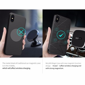 Image 2 - עבור iphone x יוקרה מקרה Nillkin צ י טעינה אלחוטי מקלט חזרה כיסוי fit עבור מגנטי מחזיק 5.8 inch עבור iphone x מקרה