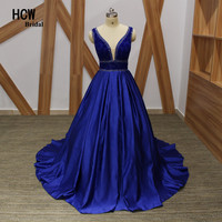 Long Evening Dress 2018 Luxury Rhinestones Royal Blue Formal Gown V Neck Open Back Satin A Line Arabic Style Evening Party Dress