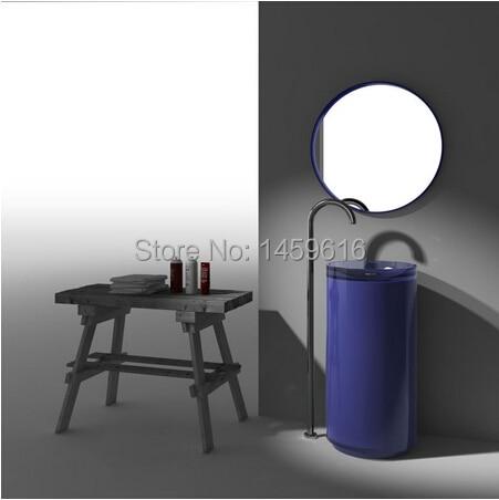 Bathroom Round Pedestal Washbasin Resin Acrylic Colored Cloakroom Freestanding Vanity Sink W9010
