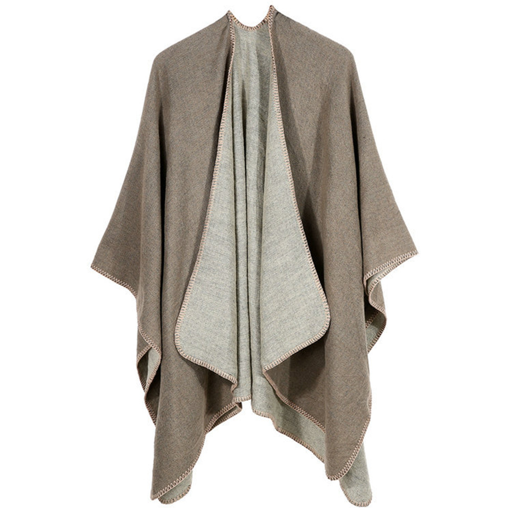 Sexy Solid color style Women Winter Knitted Cashmere Poncho Capes Shawl Cardigans Sweater Coat winter keep warm scarves cloak