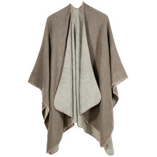 TOLINA Sexy Solid color style Women Knitted Cashmere Poncho Capes Shawl Cardigans