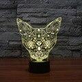 Nuevo Estilo 3D Animal Gato Floral Lámpara de Mesa de Iluminación de La Atmósfera LED Cambio de Color de Control Táctil Luz de La Noche Decoración de Navidad regalo