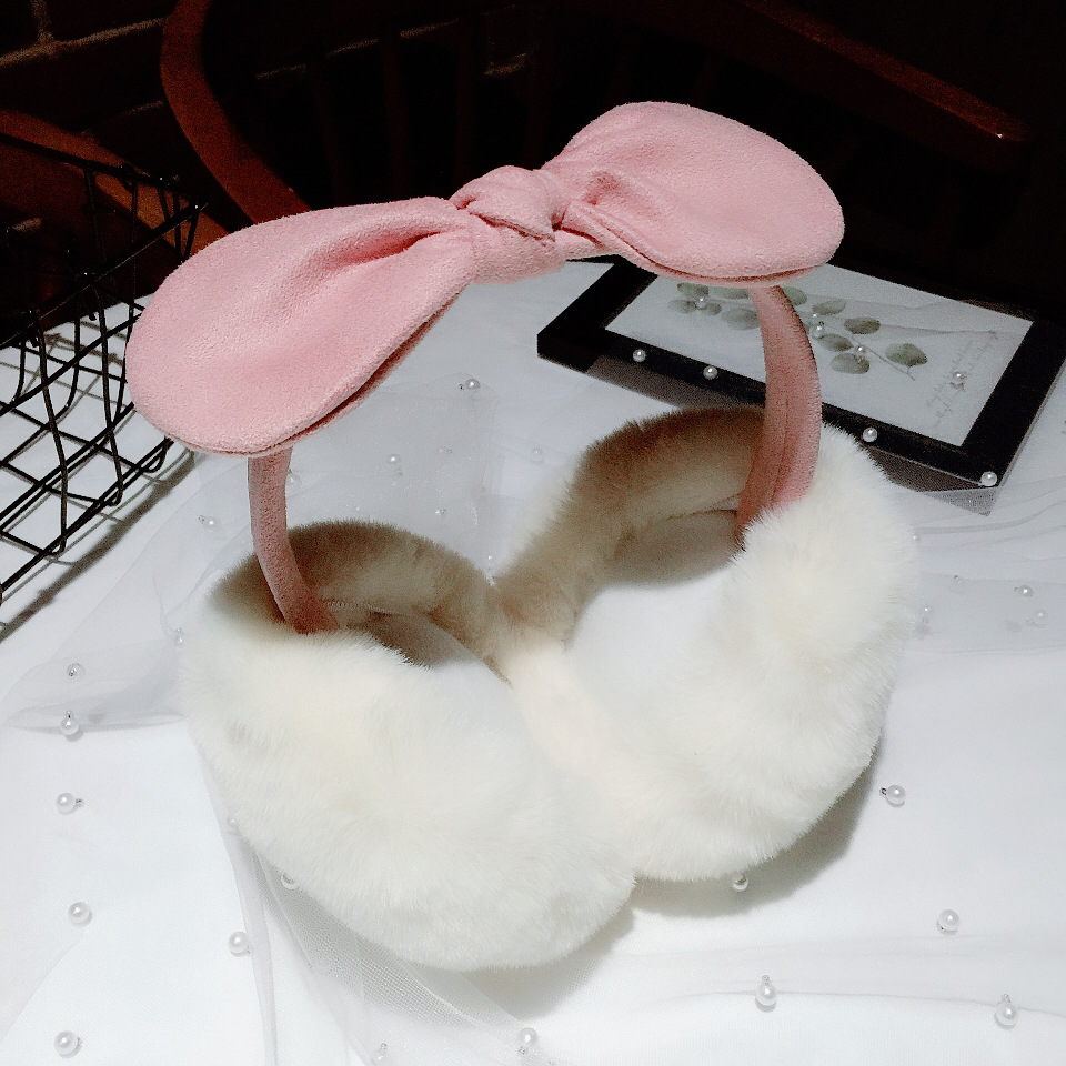 Earmuffs Warm Female Winter Earmuffs Cute Bow Versatile Plush Women Girls Comfort Headband Earmuffs Rabbit Fur Lovely PD-32