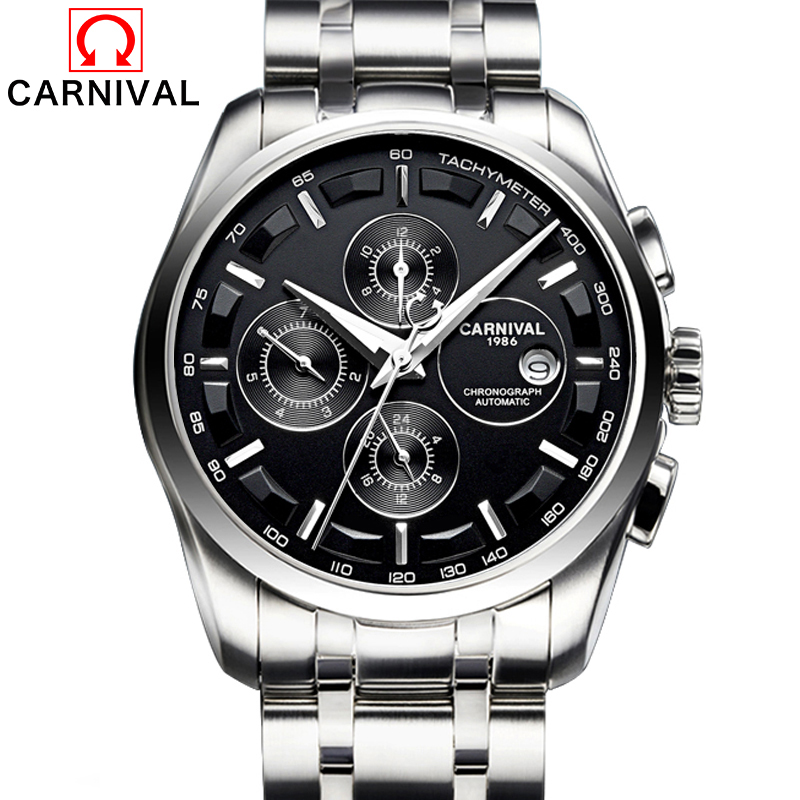 Relogio Masculino 2017 Carnival Mens Automatic Mechanical Watches Men Luxury Casual Business Watch Male Stainless Steel Clock forsining automatic tourbillon men watch roman numerals with diamonds mechanical watches relogio automatico masculino mens clock