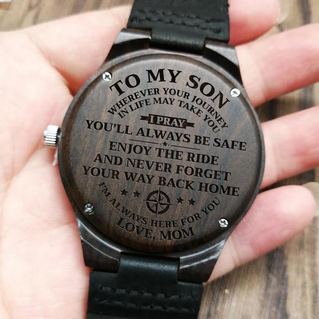 W1800-1 a mi hijo-grabado reloj de madera de sándalo cinturón relojes de lujo automática relojes de cuarzo reloj para niños cumpleaños regalo de graduación