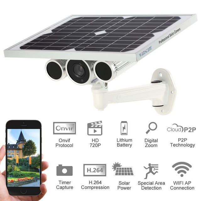 wanscam 720 p nuit vision solaire puissance surveillance cam ra batterie int gr e p2p onvif sans. Black Bedroom Furniture Sets. Home Design Ideas