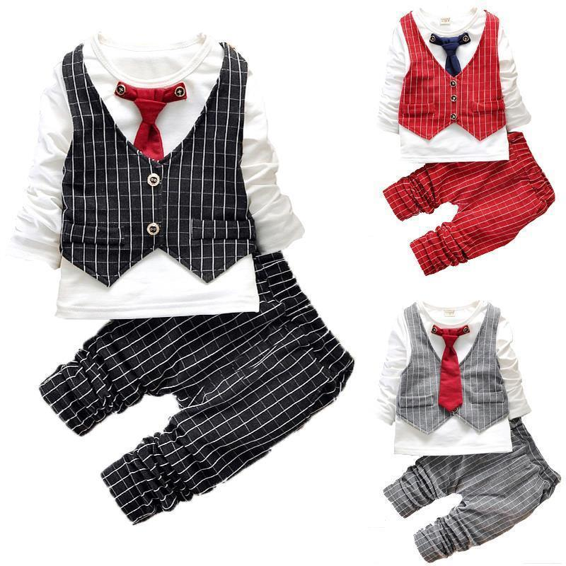 2016 Fashion Baby Boy Clothes Sets Gentleman Suit Toddler Boys Clothing Set Long Sleeve Kids Boy Clothing Set Christmas Outfits baby boys clothing set boy long sleeve t shirt and cowboy autumn winter fashion clothing sets 2017 new arrival hot sell sets