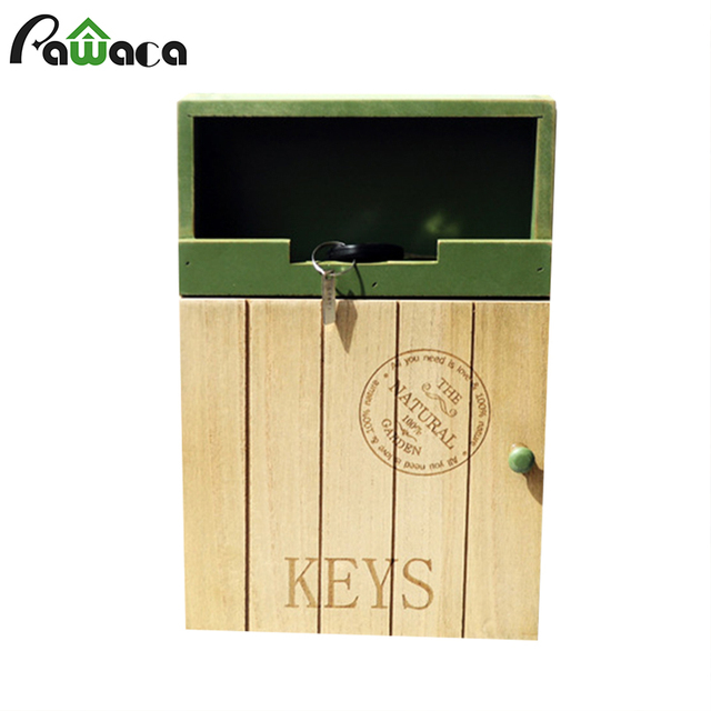 Wall Hanging Sundries Keys Storage Wood Box Zakka Key Hooks Case ...