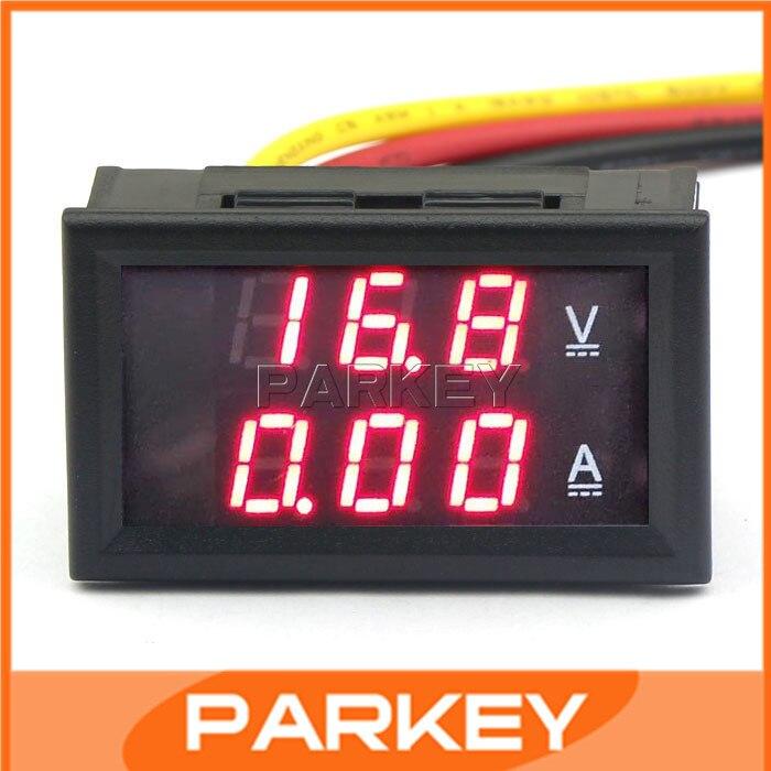 100 шт. YB27VA Индикатор Батареи Вольт Ампер Panel <font><b>Meter</b></font> DC 4.5-30 В/5A Амперметр Вольтметр 2 в 1 Красный СВЕТОДИОД Напряжения #210031