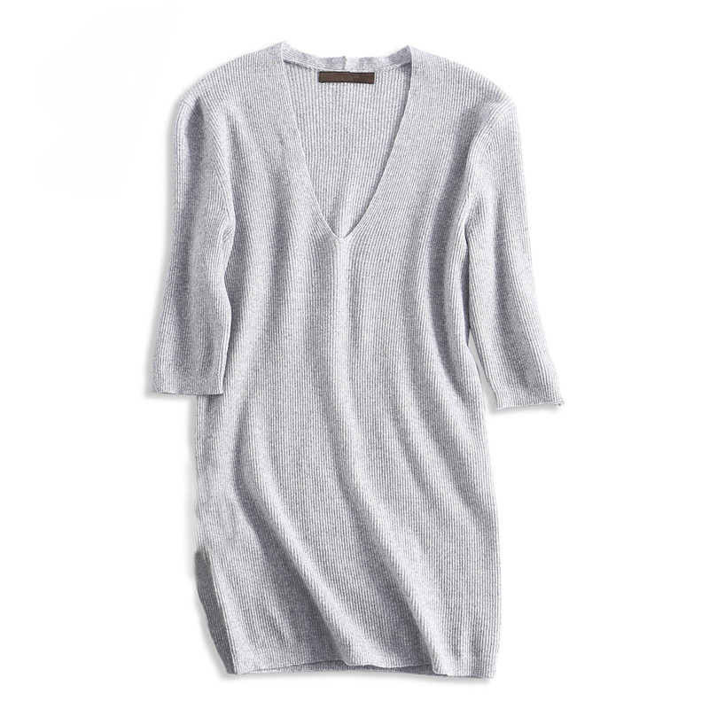 pure fine wool thin knit women fashion spring summer pullover sweater short sleeve M/L