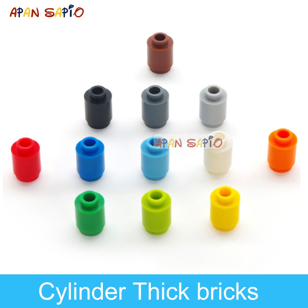 200pcs DIY Building Blocks Figures Bricks Cylinder 12Color Educational Creative Size Compatible With Lego Toys For Children