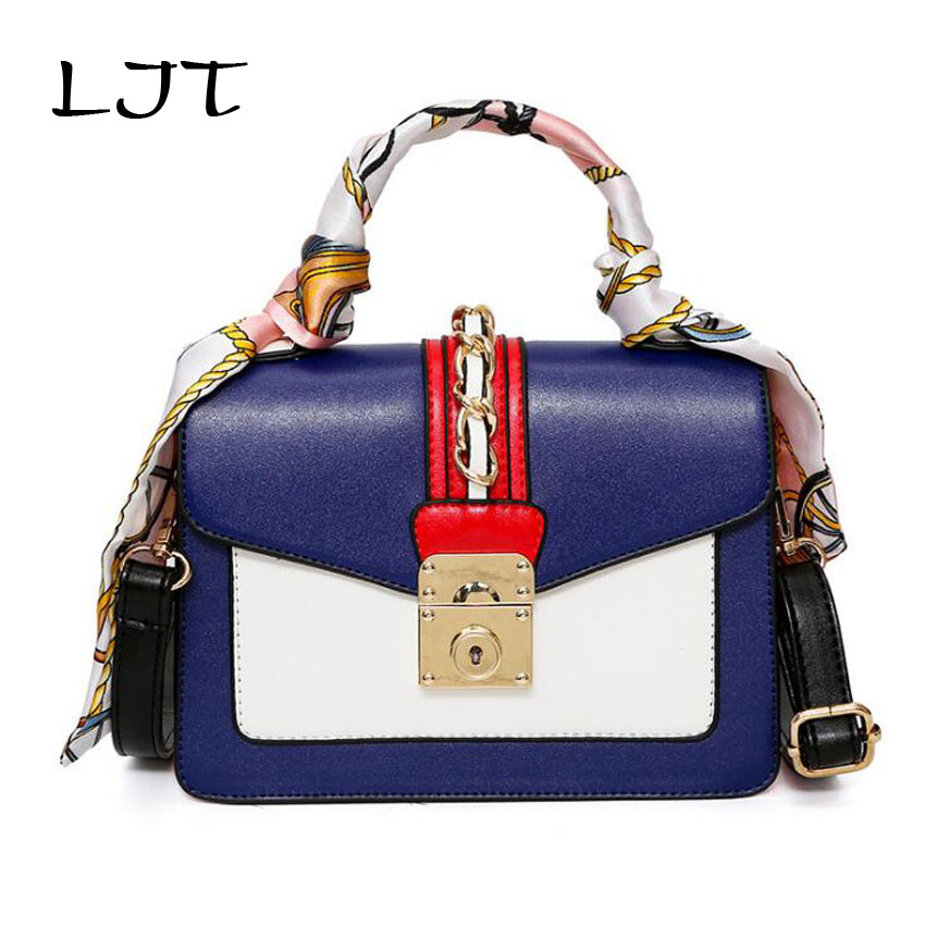 LJT Women Bag Fashion PU Leather Women Leather Handbag Female Scarf Handbag 2018 Spring New Lock Women Shoulder Bag sac a main
