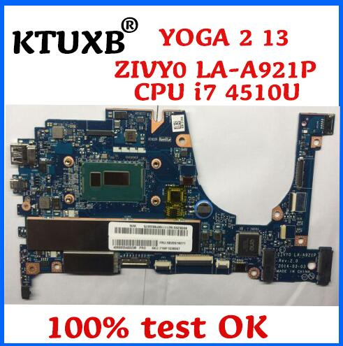KTUXB ZIVY0 LA A921P motherboard for Lenovo YOGA 2 13 notebook motherboard CPU i7 4510U 8G