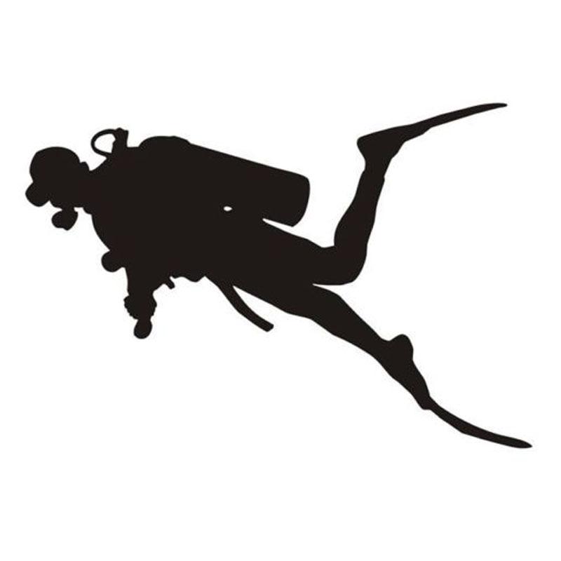 20.5*13.9CM Interesting Diver Diving Snorkeling Car Stickers Decals Black/Silver C7-0007