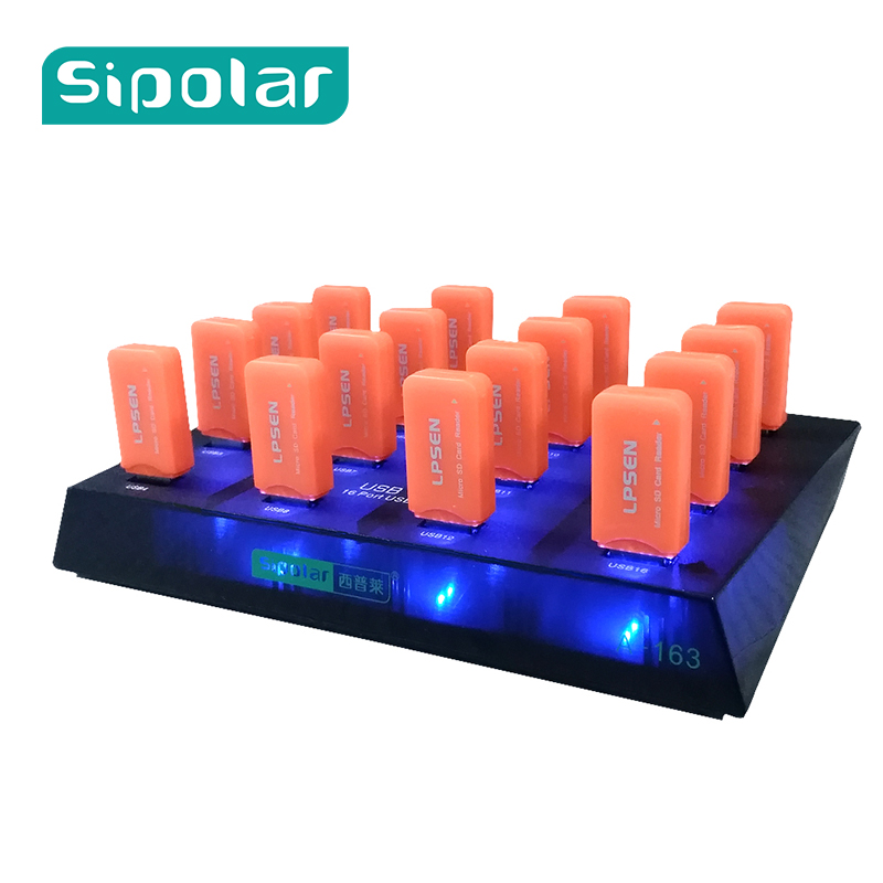 Plastic Sipolar black 16 Port USB hub 3.0 for usb duplicator